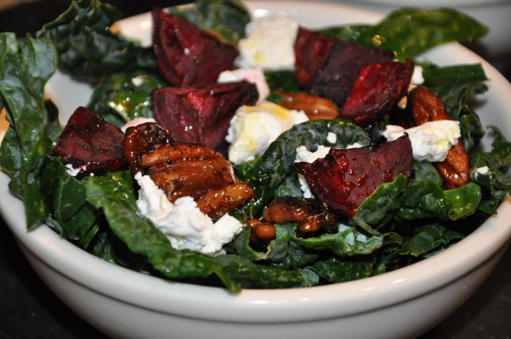 Autumn Salad with Beets, Goat CHeese and Pecan Pie Crisps