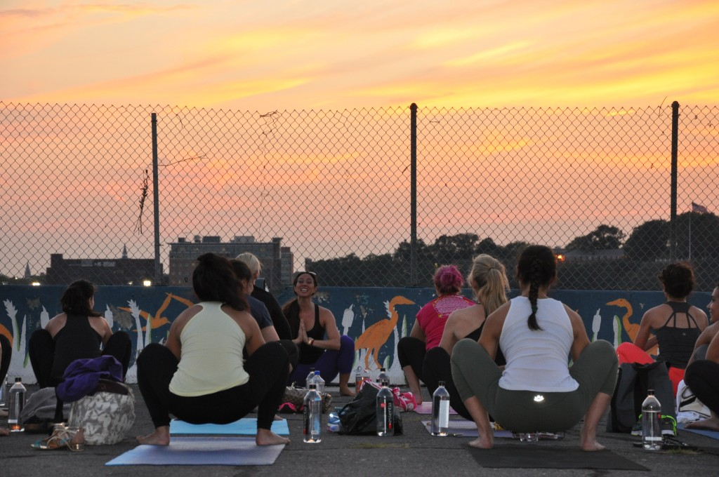 Arielle Haspel's entertaining at Sunset Yoga EVent 2014