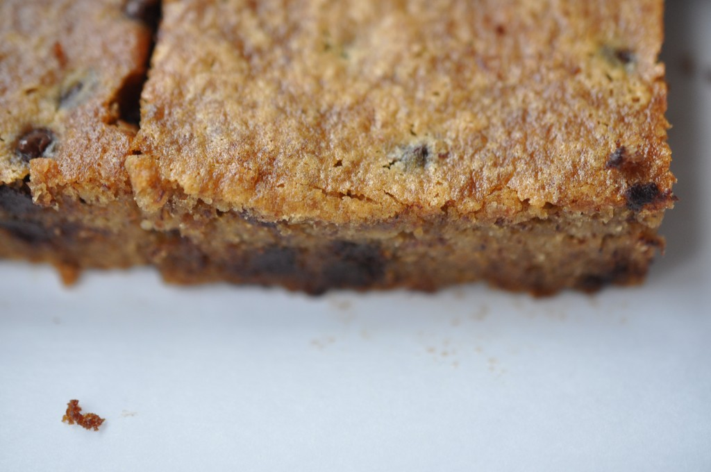 Healthified Chocolate Chip Chickpea Blondies made by Arielle Haspel of bewellwitharielle.com