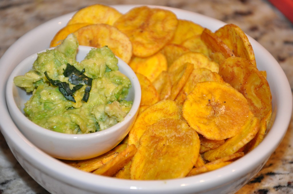 plantain chips with guacamole