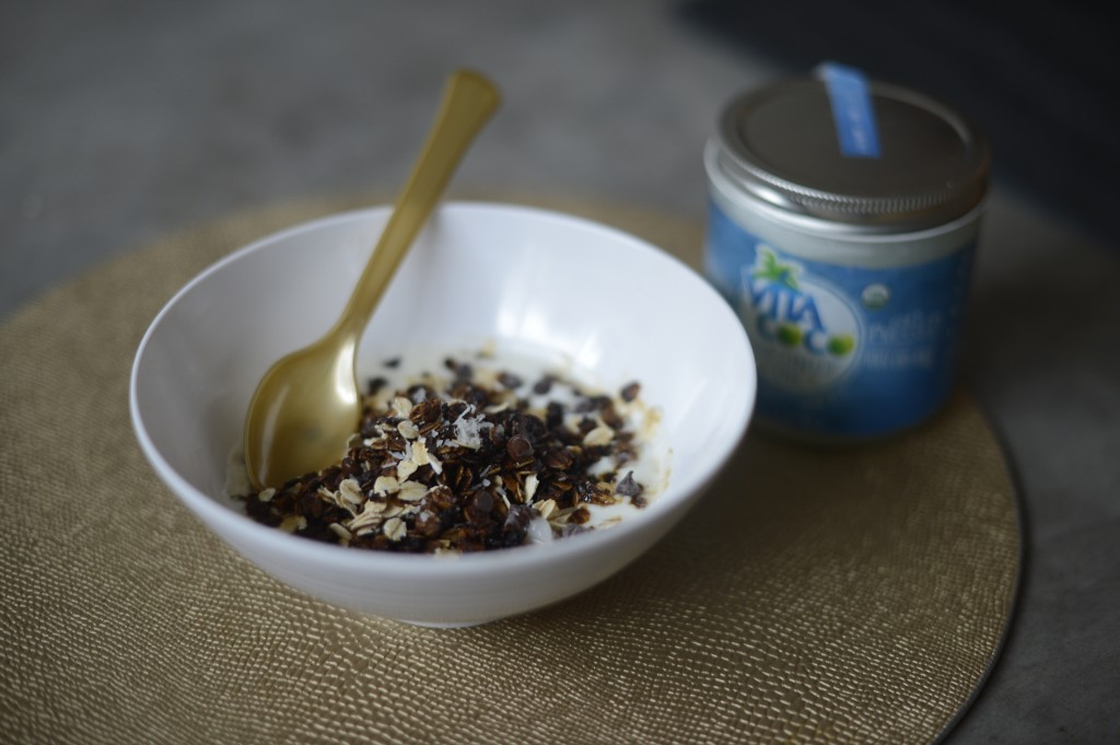 chocolate chip cookie granola by Arielle Haspel of Be Well with Arielle for vita coco coconut oil