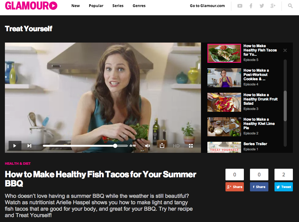 healthy summer bbq fish tacos featured on glamour.com made by arielle haspel