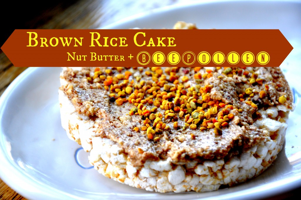 brown rice cake with nut butter and bee pollen