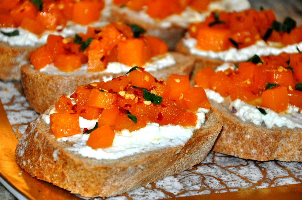 toast with ricotta and butternut squash brightened